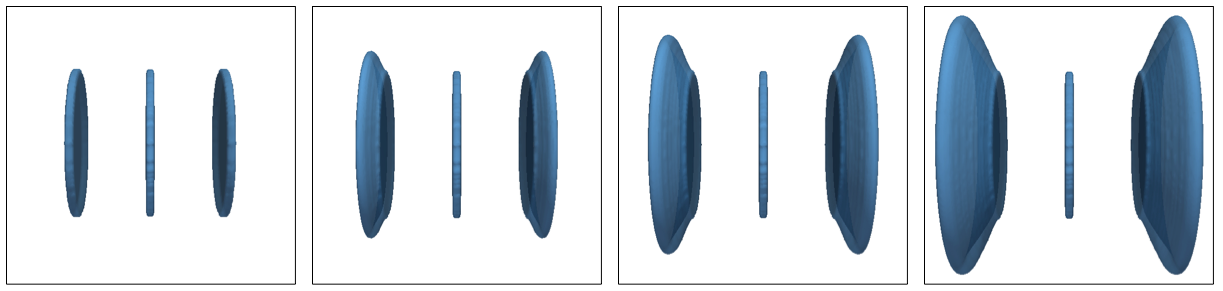 Growth of three parallel penny-shaped fractures in 3D using the active set method.